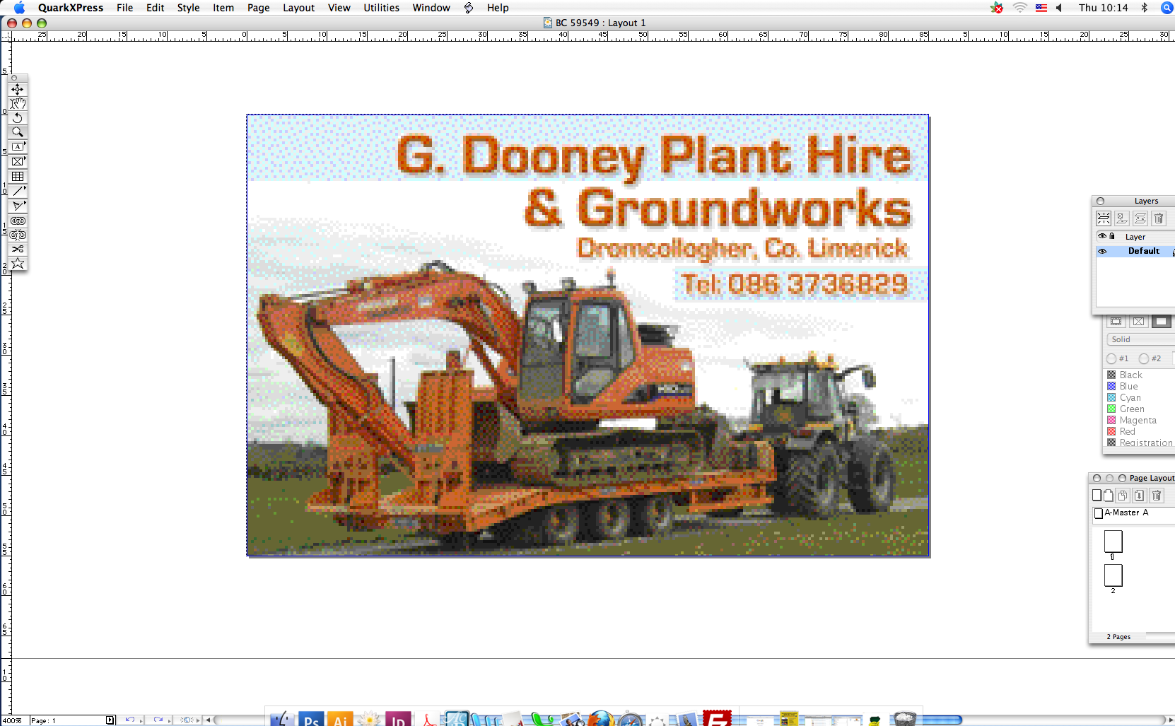 6 at the end i made a business card for g dooney plant hire and advertisements reheart Image collections